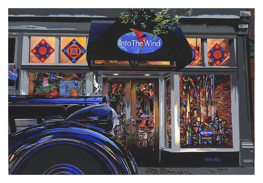 1937 Packard Car Automobile Black Kite Kites Wind Chime Store Front Gouache Boulder Colorado Painting - Into The Wind ... Packard by Mike Hill