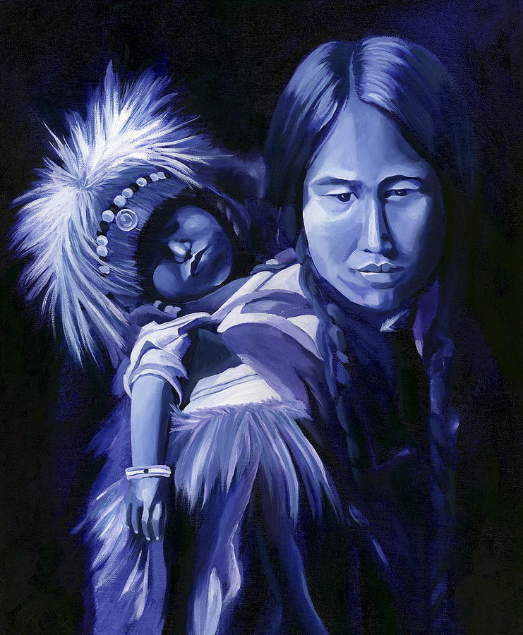 Native American Painting - Inuit Mother And Child by Nancy Griswold