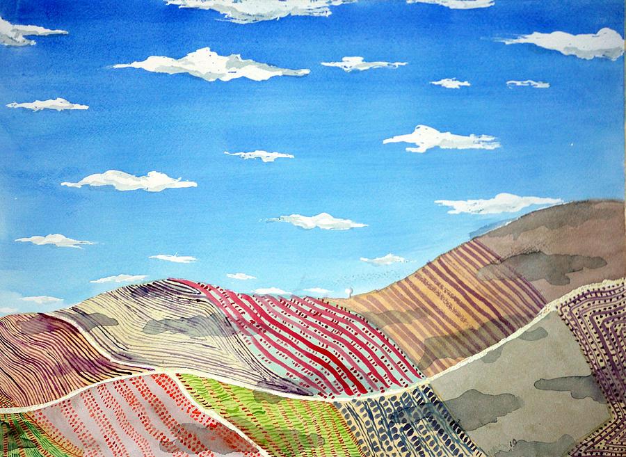 Iowa Painting - Iowa Fields  Iowa Clouds by Jame Hayes