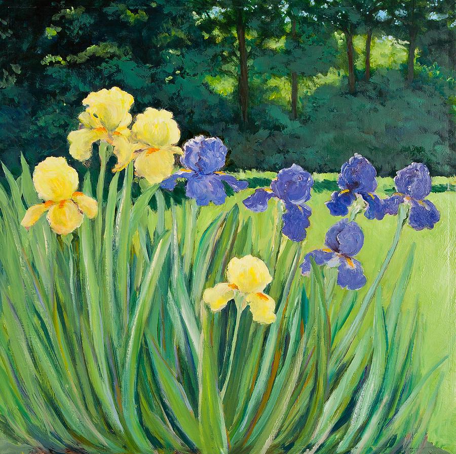 Yellow And Blue Irises Painting - Irises In The Garden by Betty McGlamery