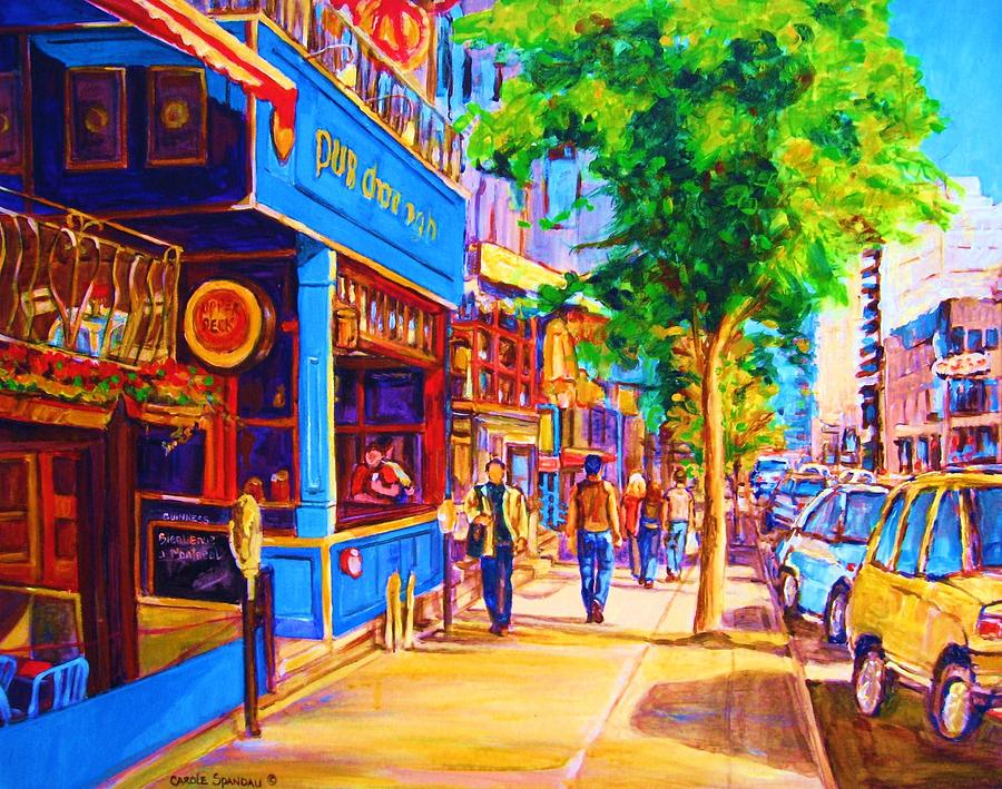 Irish Pub On Crescent Street Montreal Street Scenes Painting - Irish Pub On Crescent Street by Carole Spandau