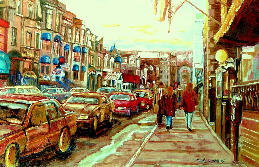 Irish Pubs And Bistros Downtown Montreal Painting