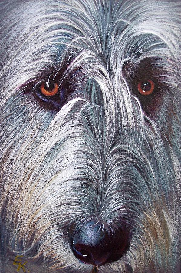 Dog Drawing - Irish Wolfhound by Elena Kolotusha