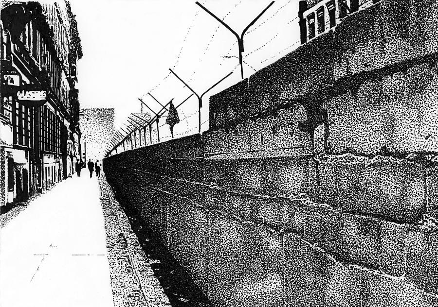 The Berlin Wall Drawing - Iron Curtain by Lyle Brown