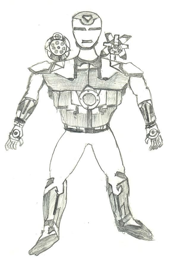 Ironman Drawing - Ironman War Machine by Kartikeya Mishra