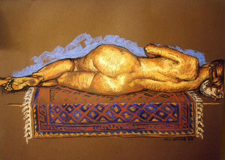 Nude Painting - Isabel On Afghan Carpet- Back by Paul Herman