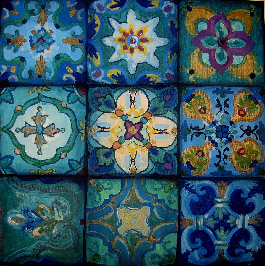 Islamic ceramic pattern painting by luciana toma for Ceramic mural paintings