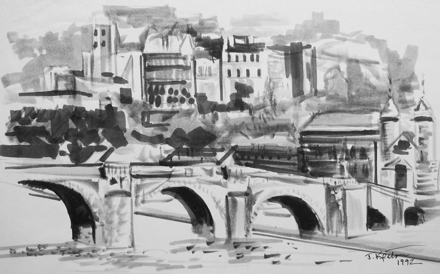 Italian Bridge Drawing - Italian Bridge by John Keaton