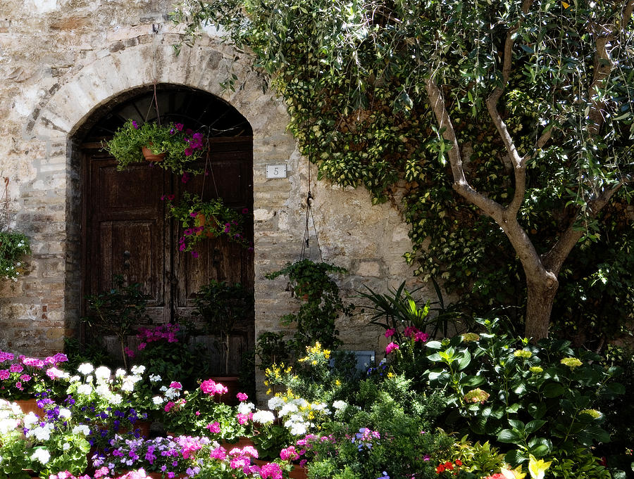 Flower Photograph - Italian Front Door Adorned With Flowers by Marilyn Hunt