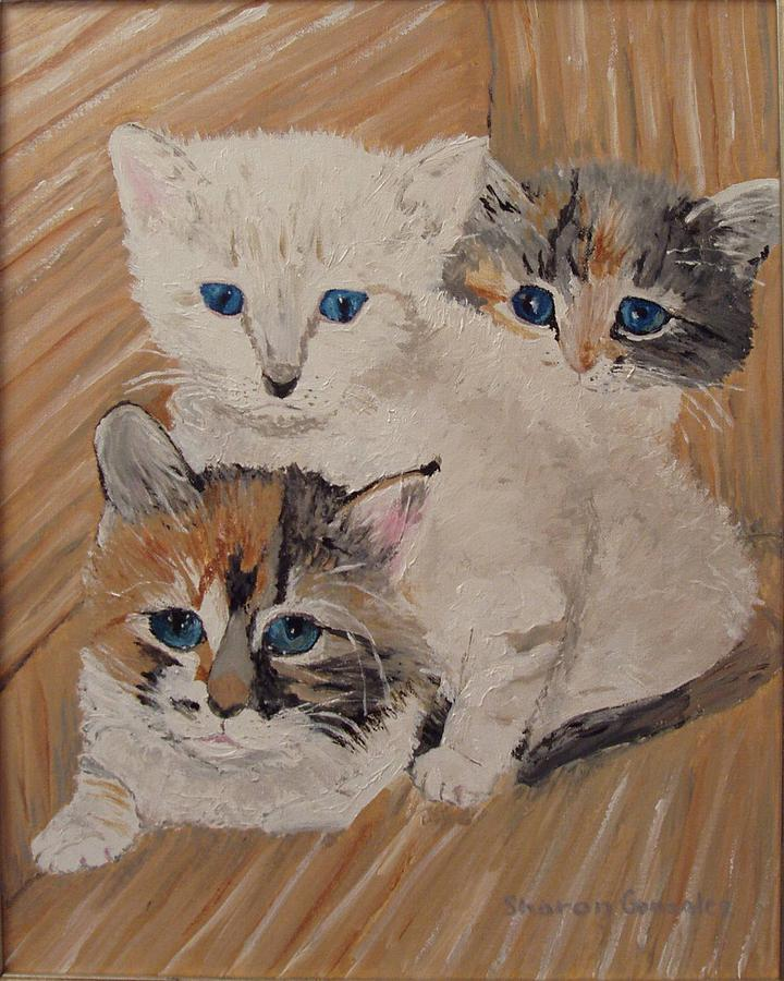 Cats Painting - Ivy Iris And Dixie by Sharon  De Vore