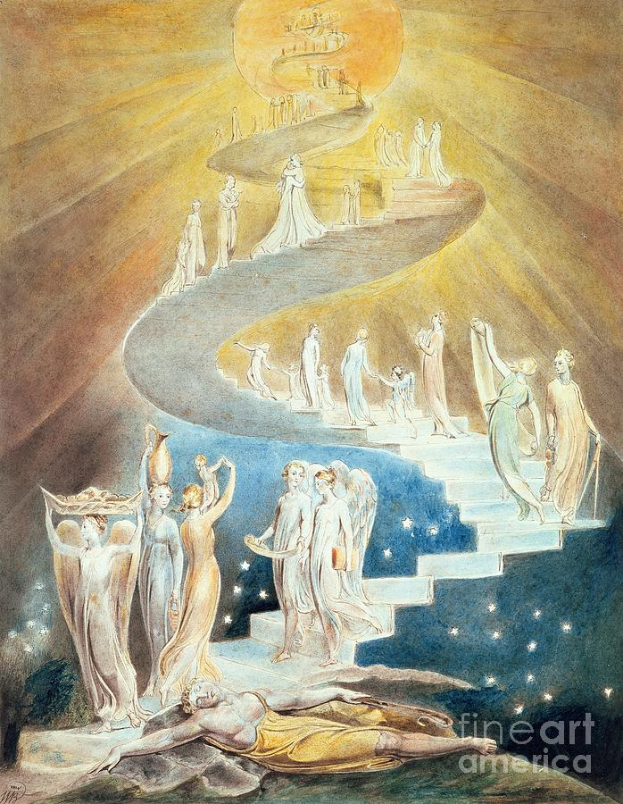 Jacob Painting - Jacobs Ladder by William Blake