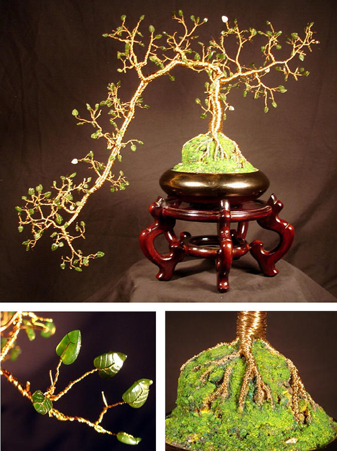 Jade Cascade  No.1 - Bonsai Wire Tree Sculpture  Sculpture