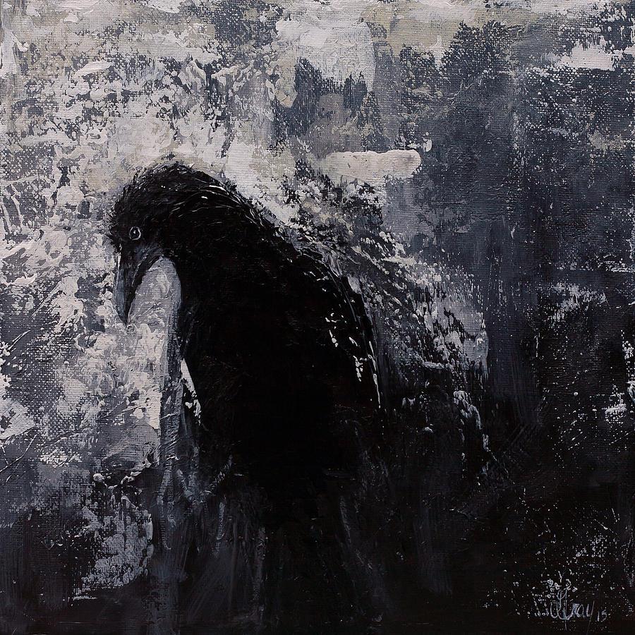 Jaded Original Raven Painting Black And White Crow Art