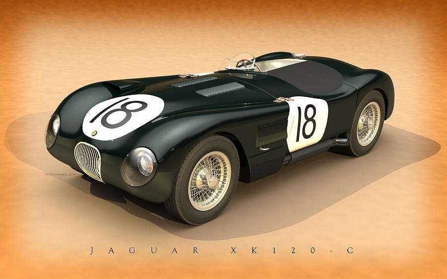 Duncan Hamilton Digital Art - Jaguar Xk120-c Three-quarters by Pete Chadwell