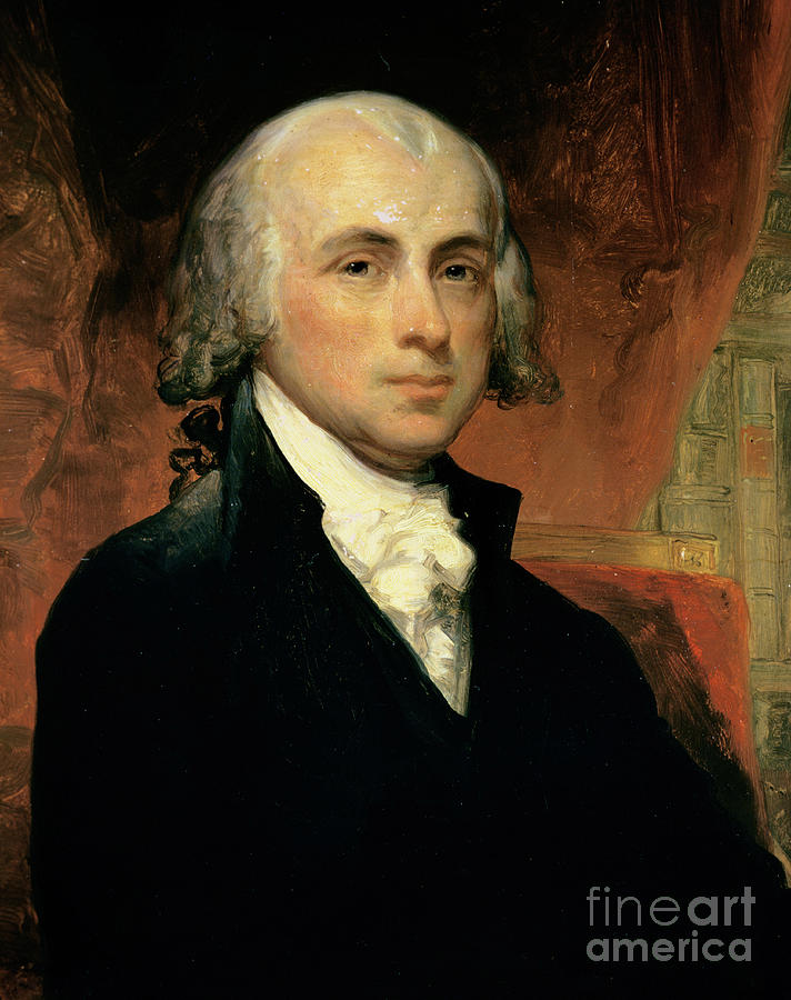 James Madison (oil On Canvas) By American School (19th Century) Painting - James Madison by American School
