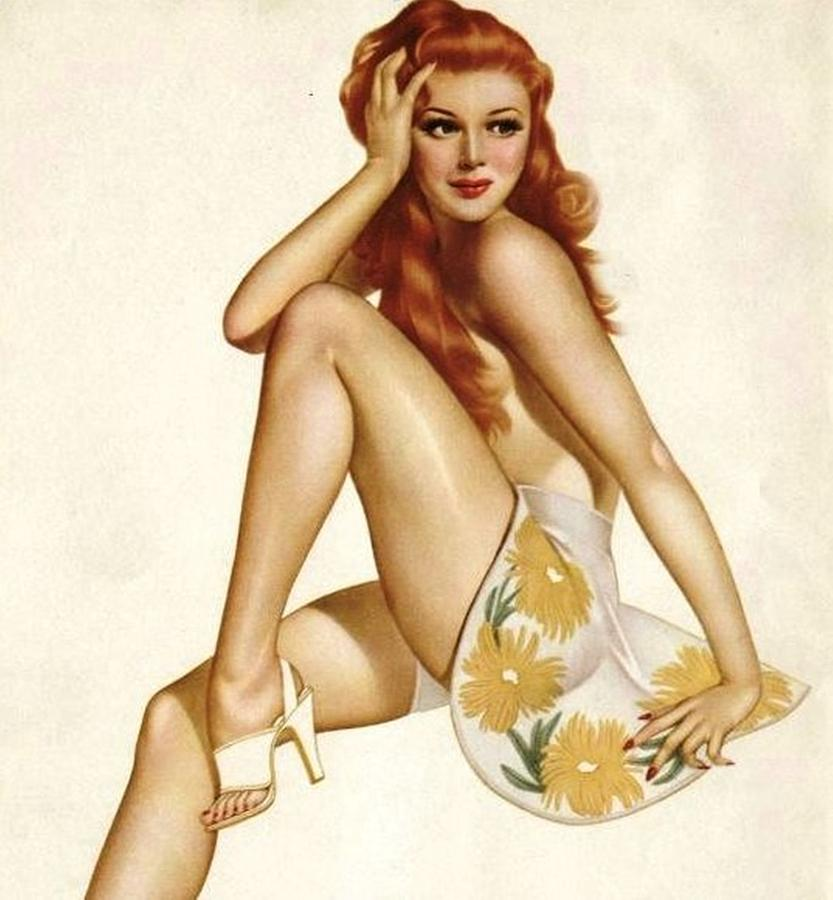 Pin Up Girl Painting - January 1945 Calendar Girl by Alberto Vargas