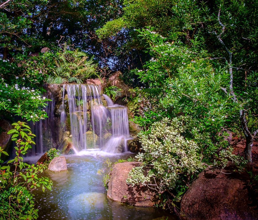 Japanese Garden Waterfalls Photograph by Louis Ferreira