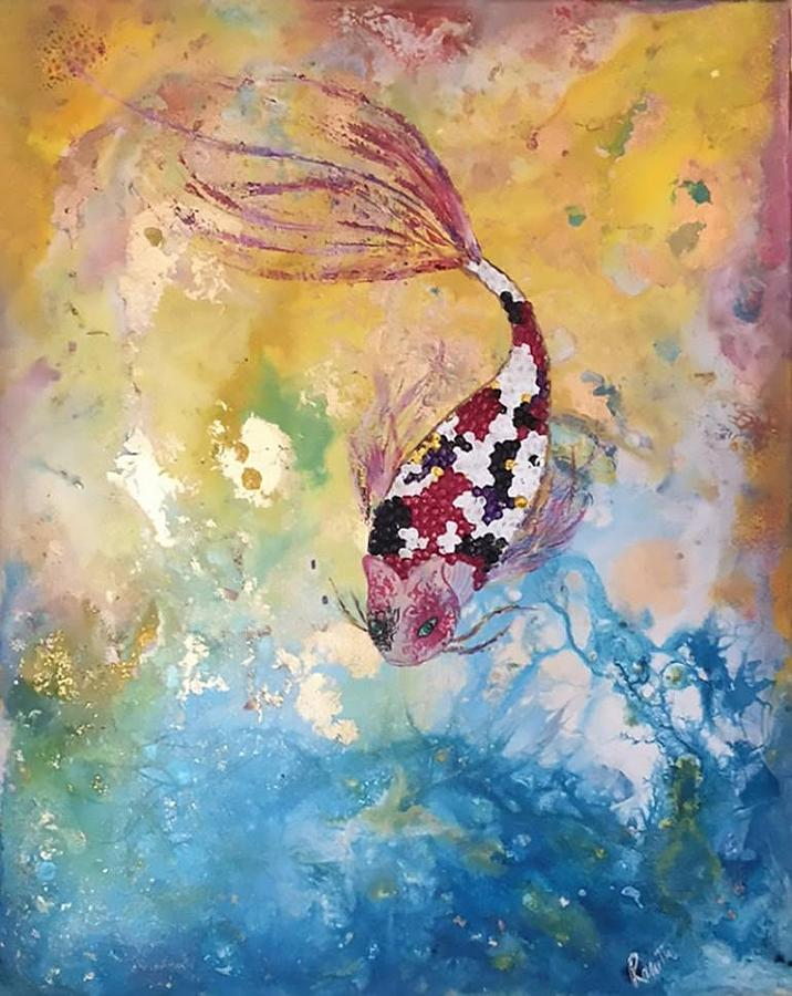Japanese koi fish painting by rasvanthi shriya for Japanese fish painting