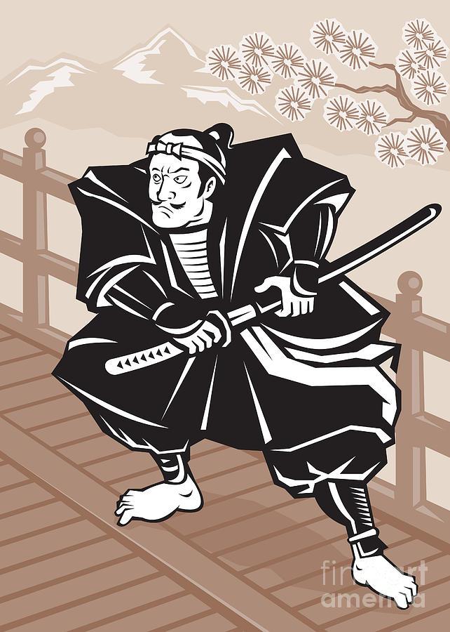 Japanese Samurai Warrior Sword On Bridge Digital Art