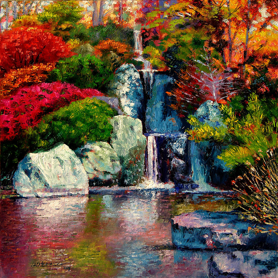 Japanese Garden Painting - Japanese Waterfall by John Lautermilch