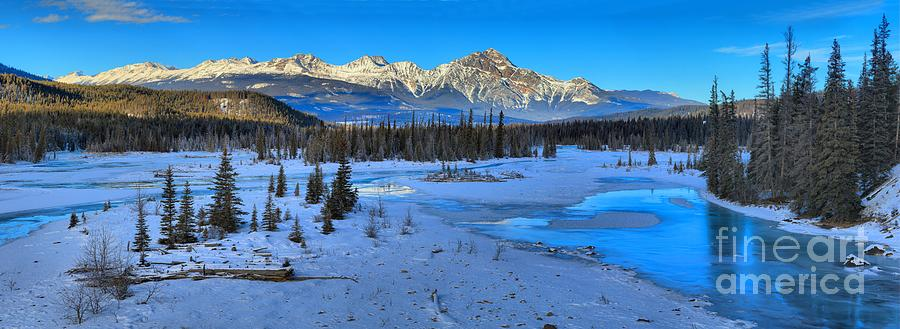 Jasper Winter Mountain Panorama Photograph by Adam Jewell