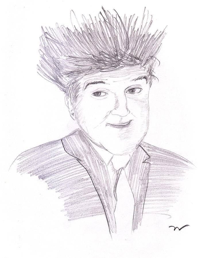 Graphite Drawing - Jay Leno Hair Day by M Valeriano