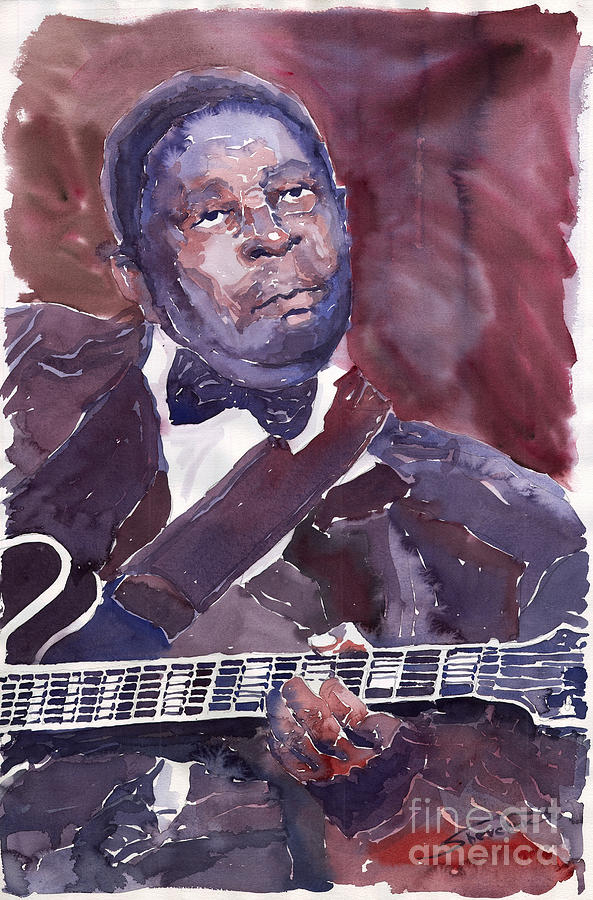 Jazz Bbking Guitarist Blues Portret Figurative Music Painting - Jazz B B King by Yuriy  Shevchuk