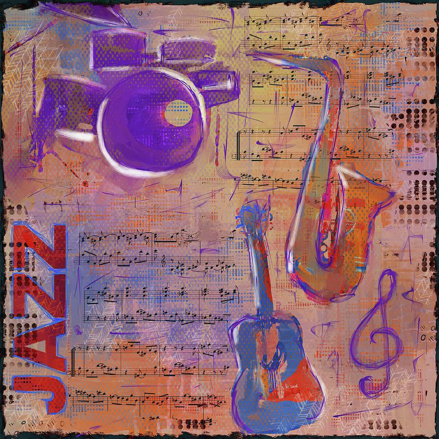 Jazz Collage Painting Mixed Media