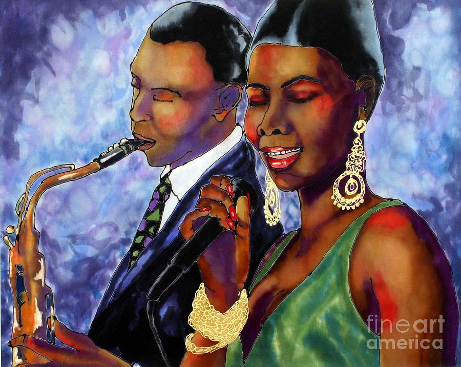 Silk Painting - Jazz Duet by Linda Marcille