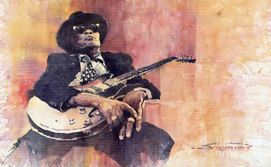 Watercolour Painting - Jazz John Lee Hooker by Yuriy  Shevchuk