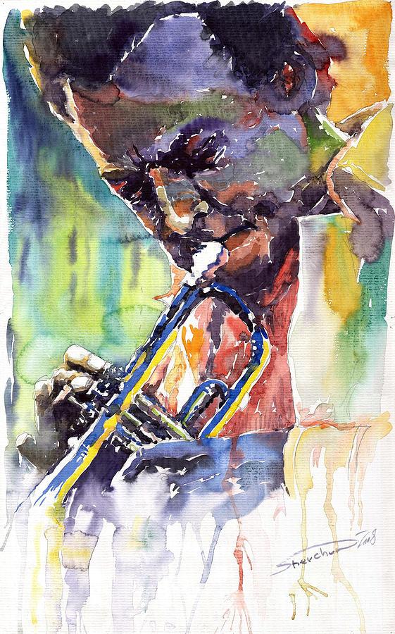Jazz Miles Davis Music Musiciant Trumpeter Portret  Painting - Jazz Miles Davis 9 Blue by Yuriy  Shevchuk