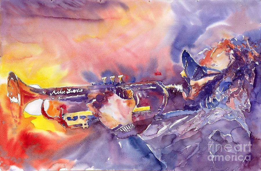 Jazz Watercolor Miles Davis Music Musician Trumpeter Figurative Watercolour Painting - Jazz Miles Davis Electric 1 by Yuriy  Shevchuk