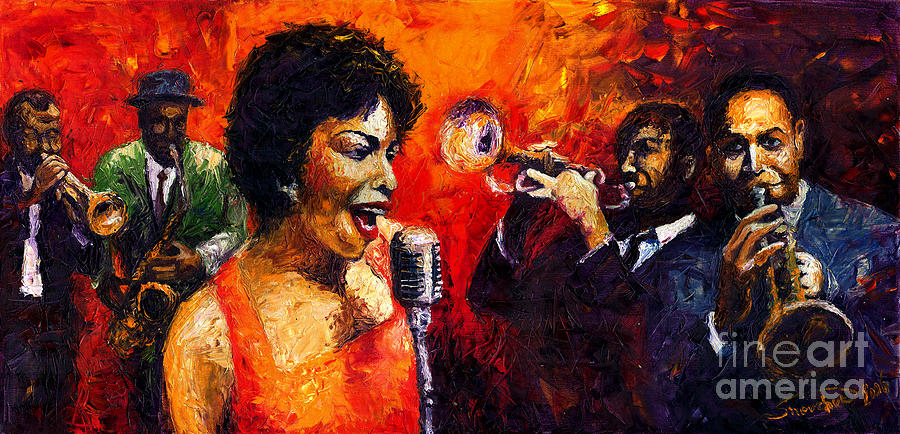 Jazz.song.trumpeter Painting - Jazz Song by Yuriy  Shevchuk