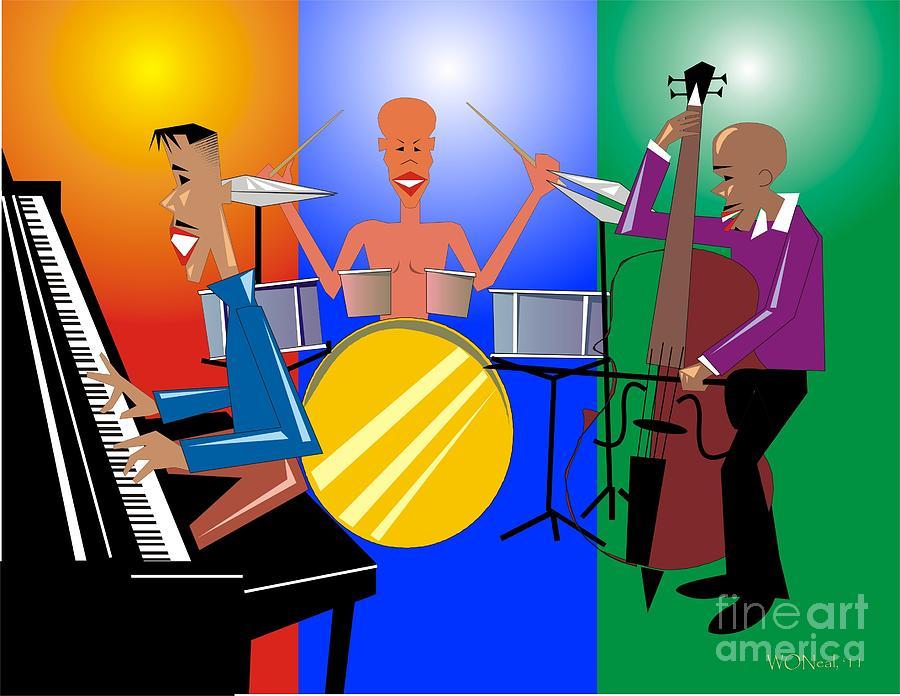 Jazz Digital Art - Jazz Trio by Walter Oliver Neal