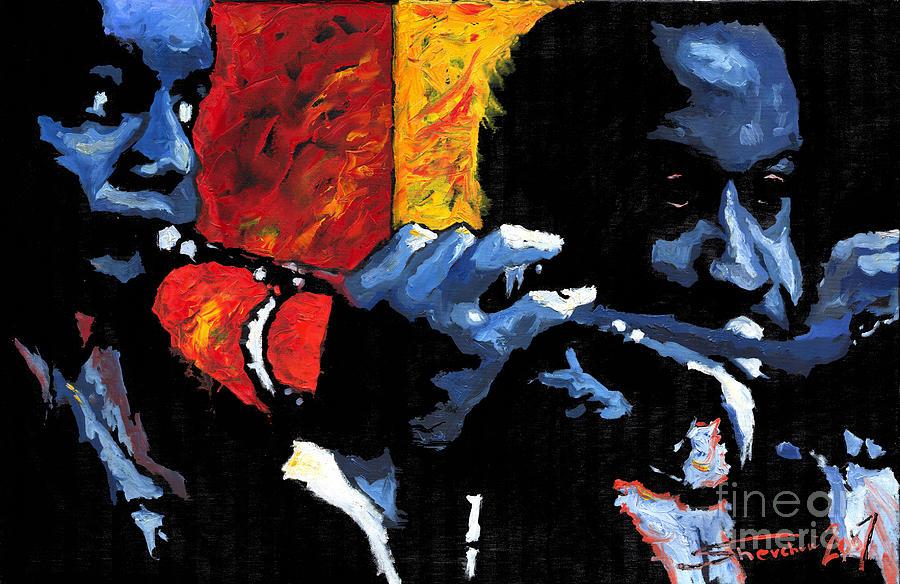 Jazz Painting - Jazz Trumpeters by Yuriy  Shevchuk