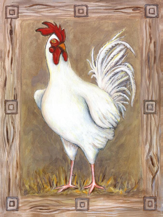 Rooster Painting - Jed The Rooster by Linda Mears
