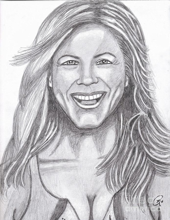 Jenny Laughing Drawing by Richard Heyman