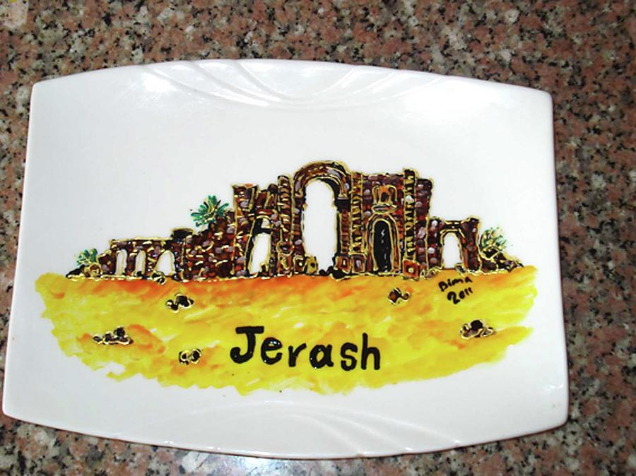 All About Jordan Tourism Hand Painting Petra Glass Art - Jerash  by Dima Anabtawi