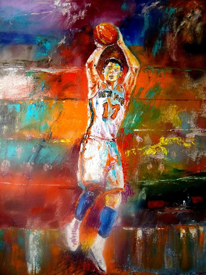 Jeremy Lin   Painting - Jeremy Lin New York Knicks by Leland Castro