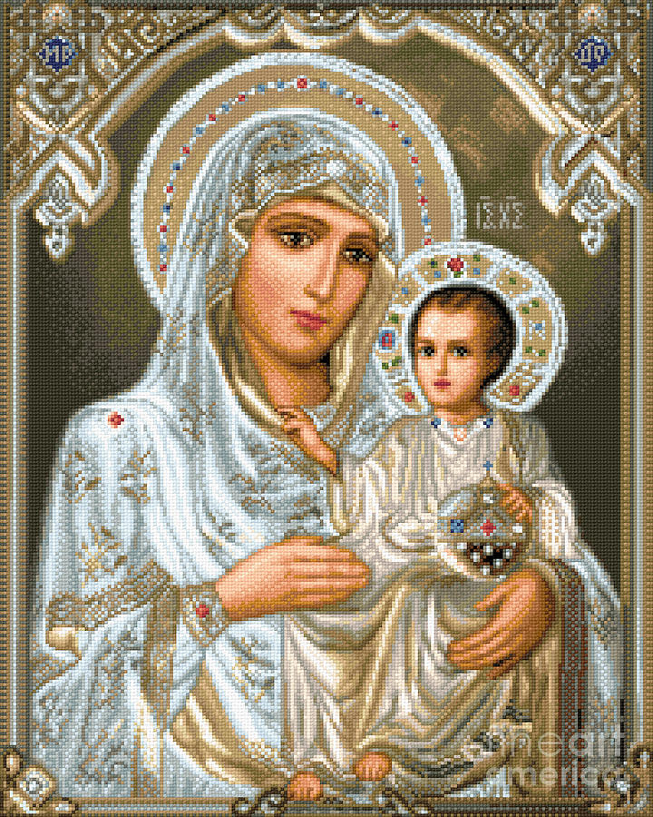Jerusalem Theotokos Orthodox Icon Religious Gobelin Needlework Jesus Maria Holy Mother Tapestry - Textile - Jerusalem Theotokos by Stoyanka Ivanova
