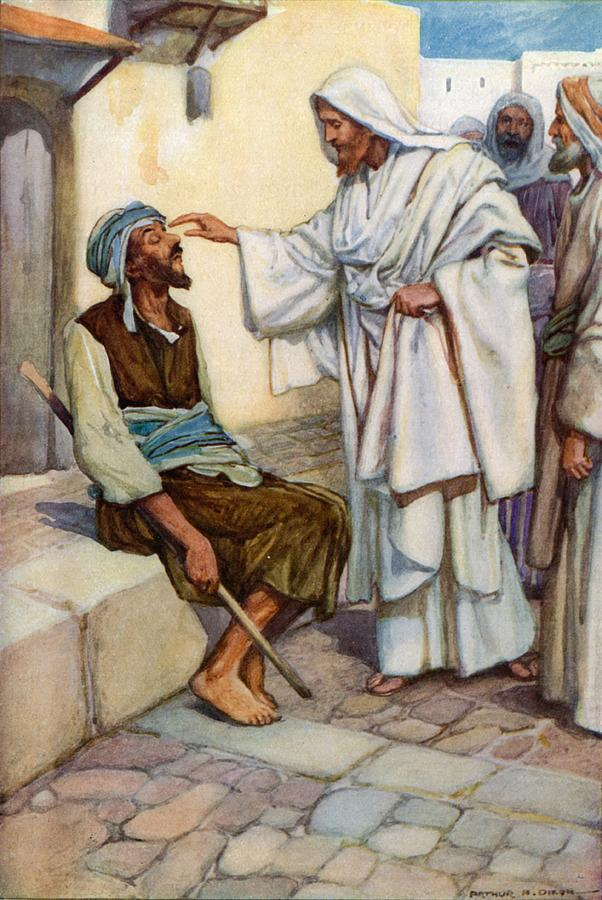Bible; Biblical; Stories; Jesus; Blind Man Painting - Jesus And The Blind Man by Arthur A Dixon