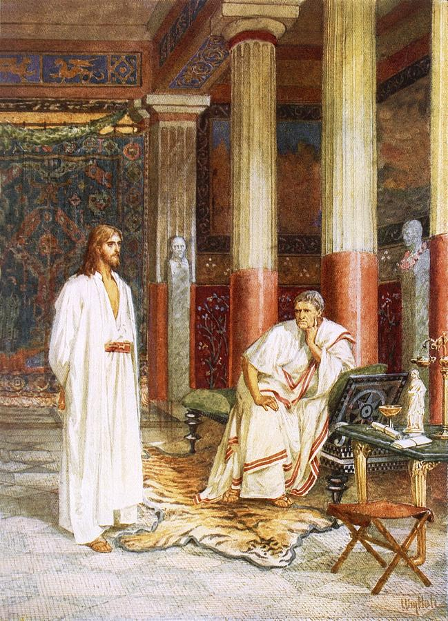 Bible; Jesus Christ; Pontius Pilate; Tiger Skin; Couch; Privately; Private Painting - Jesus Being Interviewed Privately by William Brassey Hole