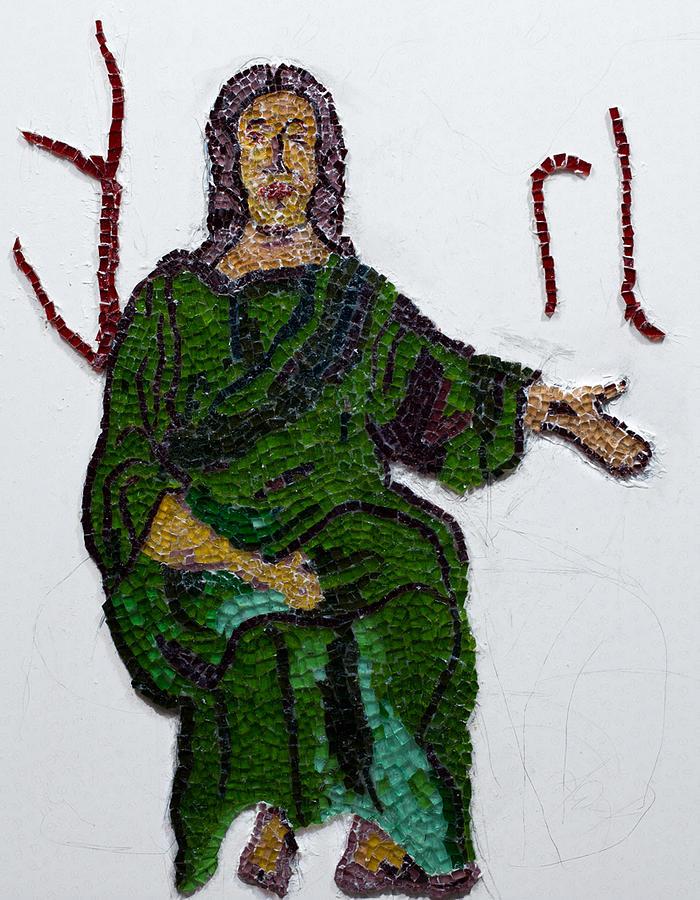 Stained Glass Mosaic Glass Art - Jesus by Emma Kinani