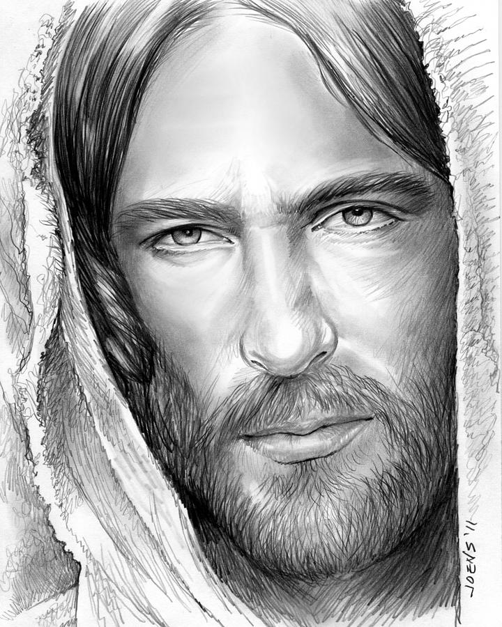 Jesus Face Drawing by Greg Joens