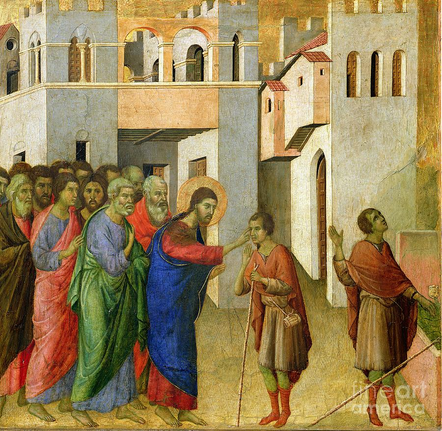 Jesus Painting - Jesus Opens The Eyes Of A Man Born Blind by Duccio di Buoninsegna