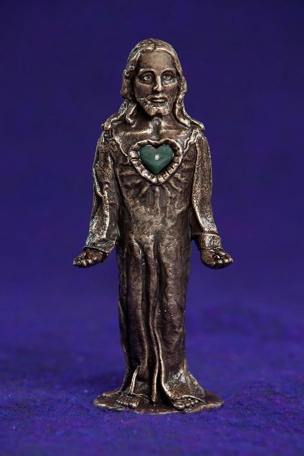 Jesus Sculpture - Jesus Statue With Sacred Heart by Jasmina Agrillo Scherr