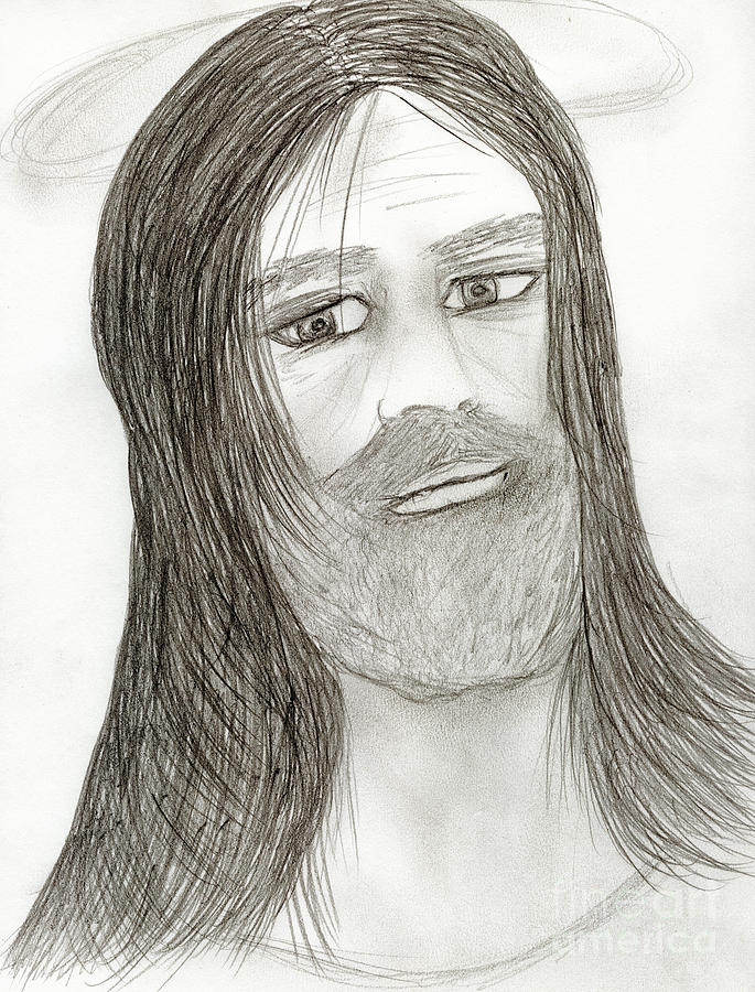 Jesus Drawing - Jesus With Halo by Sonya Chalmers
