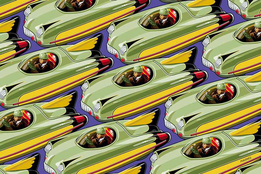 Toys Digital Art - Jet Racer Rush Hour by Ron Magnes