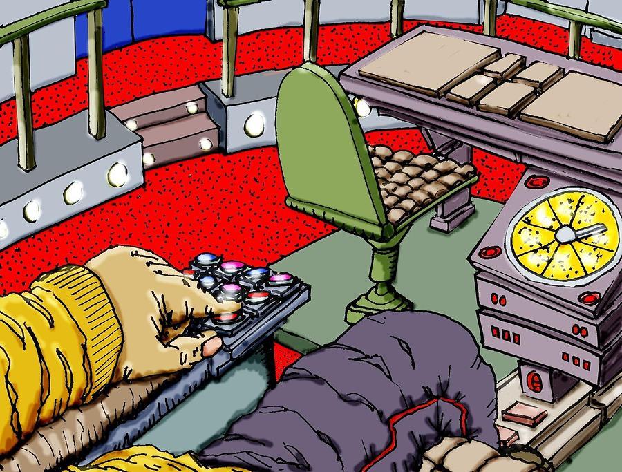 Captain Kirk Mixed Media - Jetisoning The Pod by Gregg Dutcher