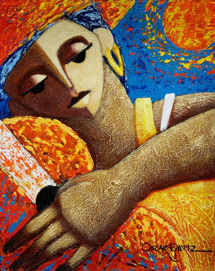 Puerto Rico Painting - Jibara Y Sol by Oscar Ortiz